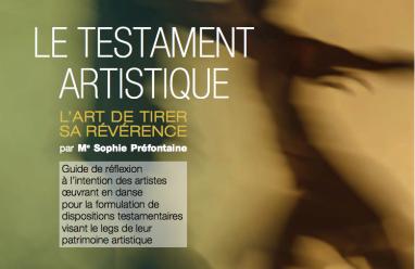 Couverture du Testament Artistique de la Fondation Jean Pierre Perreault. Graphisme: folio&garetti
